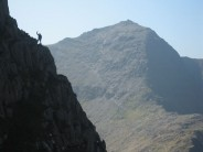Alex finishing Horned Crag Route