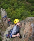 Mhairi Cameron on Troutdale Pinnacle, Black Crag,Borrowdale