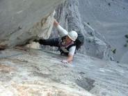 IHK seconding high up on 'Direttissima' on Mt. Yamnuska, Alberta, Canada