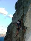 me leading up 'Direttissima' on Mt. Yamnuska, Alberta, Canada