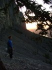 IHK at sunrise on Mt Yamnuska after an epic 13hr climb through the night