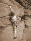 Me soloing on stanage