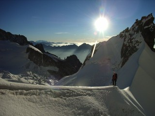 The view from Col Moore at the base of the Brenva Spur.