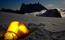Camping below the Midi. The silhouette of the Grandes Jorasses in front