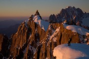Sunset over the Aiguille du Plan and Dru and Verte in the far background<br>© Jonathan Griffith