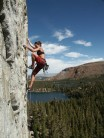 Sarah Schneider on Cromagnon 5.10a (French 6a) at the Dike Wall, Mammoth Lakes