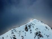 On the fine snow ridge of Stob Dubh
