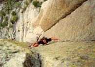 Jose on the Hong Variation(5.11c) of McCarthy West Face.