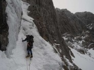 Brad on the first pitch of Number Three Gully Buttress