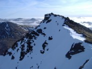 ben lui summit with unknown climber in central gully