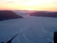 Sunrise from camp above the Belcher Glacier, Devon Island, Nunavut, Canada.