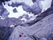 looking down The Lotus Flower Tower's crux pitch