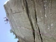 Mike at the top of Pathos E3 6a-Brimham Rocks