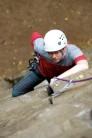 Kev at Yarncliffe. Climbing Ant's Crack