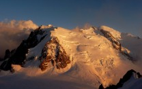 The Mont Blanc Massif at dusk from the Midi station