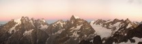 Panorama of Pelvoux, Barre des Ecrins and Glacier Blanc, from the col du Monetier