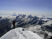 Beginning the descent of the Hornli Ridge from the Matterhorn summit