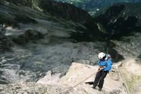 That's what 1000m of exposure looks like:  Leah descending the Piz Badile