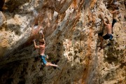 Gus on Afroman (Cova del Diablo), just before the splashdown.<br>© Paul Phillips - UKC and UKH